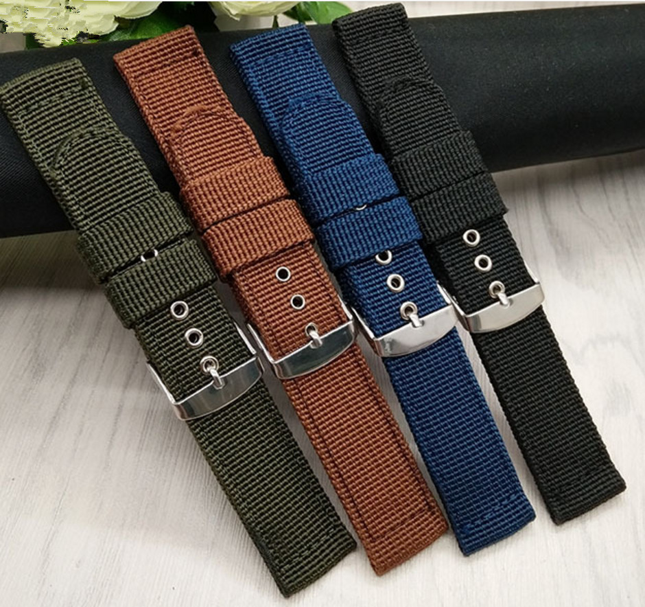 16 18 20 22 24mm Man Lady Black Green Blue Brown Watchband Handmade Nylon Fabric Canvas Strap Belt Silver Polished Pin Buckle universal nylon cell phone holster blue black size l