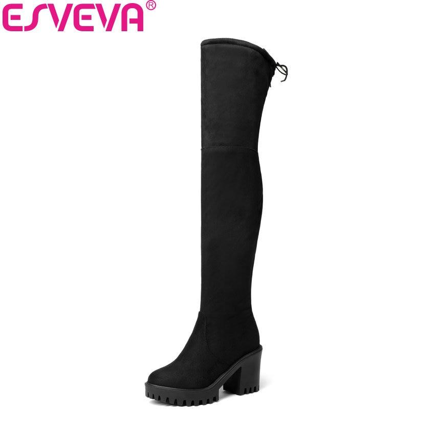 купить ESVEVA 2018 Suede/PU Fashion Women Boots Round Toe Boots Zipper Over The Knee Boots Synthetic Solid Ladies Long Boots Size 34-43 по цене 1978.05 рублей