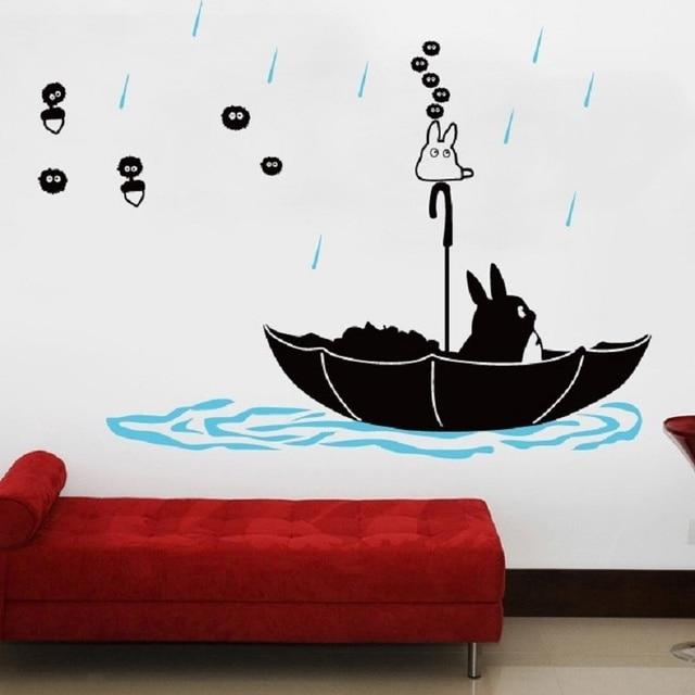 Cute Cartoon Totoro Wall Stickers Home Vinyl Decor Cartoon Children Bedroom  Decoration Cat Wall Paper Living