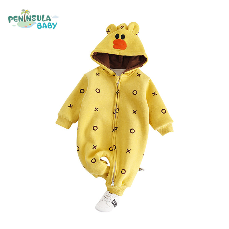 Baby Romper Warm Winter Long Sleeve Cotton Boys Girls Hooded Clothing Comfortable Cartoon Bear Infant Jumpsuit For Baby Overalls christmas newborn cashmere baby rompers infant clothing winter warm thicken cotton baby jumpsuit long sleeve boys girls sweater