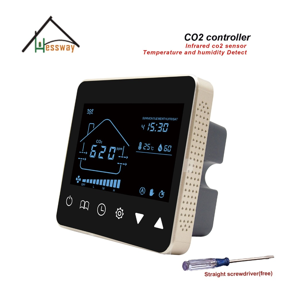 HESSWAY Nather NDIR air quality monitor co2 gas detector control 3 speed fan for Temperature and humidity