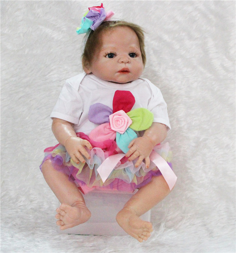 NPK 22inch  Full Silicone Reborn babies Doll Toys popular girl  collectible realistic Kids Play House toy children birthday giftNPK 22inch  Full Silicone Reborn babies Doll Toys popular girl  collectible realistic Kids Play House toy children birthday gift