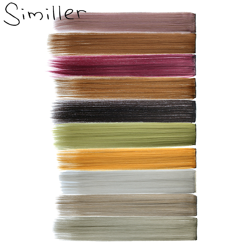 Similler One Piece Strips Colored Highlight Synthetic Hair Extensions Clip In Ombre 22