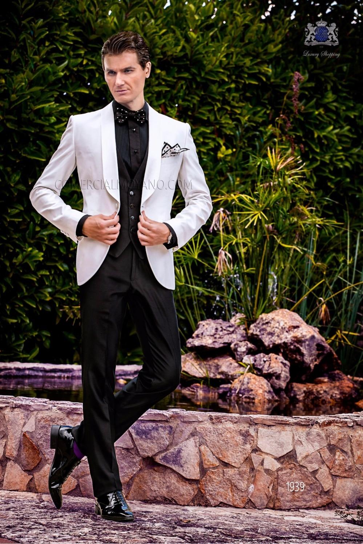 2017 Latest Coat Pant Designs Italian White Black Men Suit Slim Fit 3 Piece Tuxedo Custom Groom Suit Prom Blazer Terno Masculino