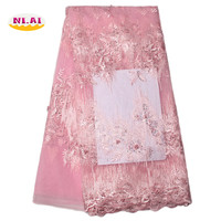 Tulle Embroidered Net Lace African French Laces Fabrics High Quality Nigerian French Net Lace 2017 With
