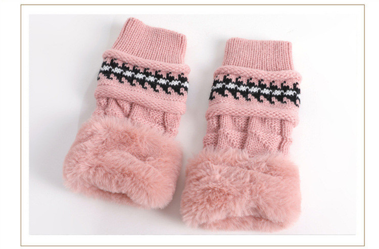 New Autumn And Winter Korean Version Of The Warm Women Hat Gloves Set Knitted Hair Ball Two Sets Of Ladies Thickening HC37 (4)