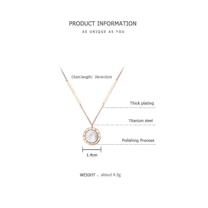 ZEGL cold wind Roman numeral necklace female ins pendant titanium steel clavicle chain simple temperament net red jewelry in Pendant Necklaces from Jewelry Accessories