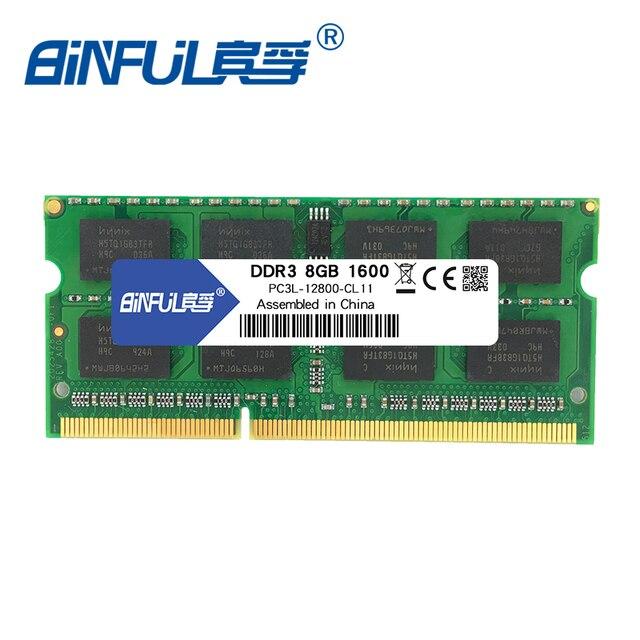 Binful 1600Mzh 4 GB 8G DDR3L PC3L-12800 1.35 v 8 Garantia Vitalícia de Memória Ram Memoria para Computador Portátil