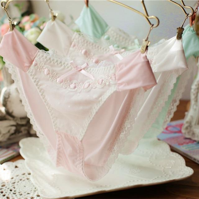 8171b3a4c sweet milk silk Japanese cute bow silky touch girls briefs thong string  panties women culotte femme