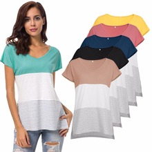 Summer new hot popular vogue is stitched stripe circular collar loose female short sleeve