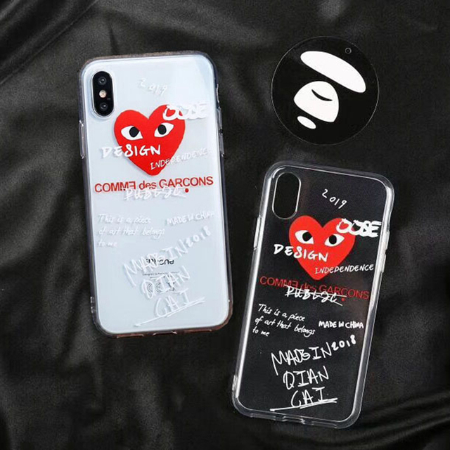 super cute cb010 58121 US $2.0 |Trend Graffiti CDG Play Comme des Garcons Phone case for iphone X  7 8 plus 6 6plus Clear Transparent soft Tpu Back Cover-in Fitted Cases from  ...
