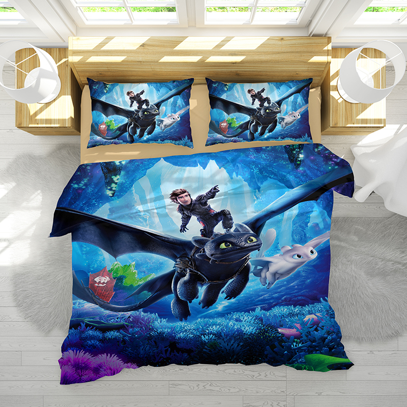 How to Train Your Dragon Cartoon 2 3pcs Bedding Set Duvet Cover Pillowcase Cover Bedding 4