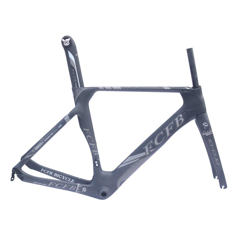 2017 FCFB T800 Carbon Road Frame Carbon Road Bike Frame Di2 Mechanical 470/490/510mm Frame Fork Stem Saddle Handlebar Wheels
