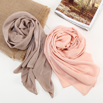1 Pc New Smooth Shiny Bubble Satin Scarf Shawls Plain Solider Colors Thicken Hijab Muslim