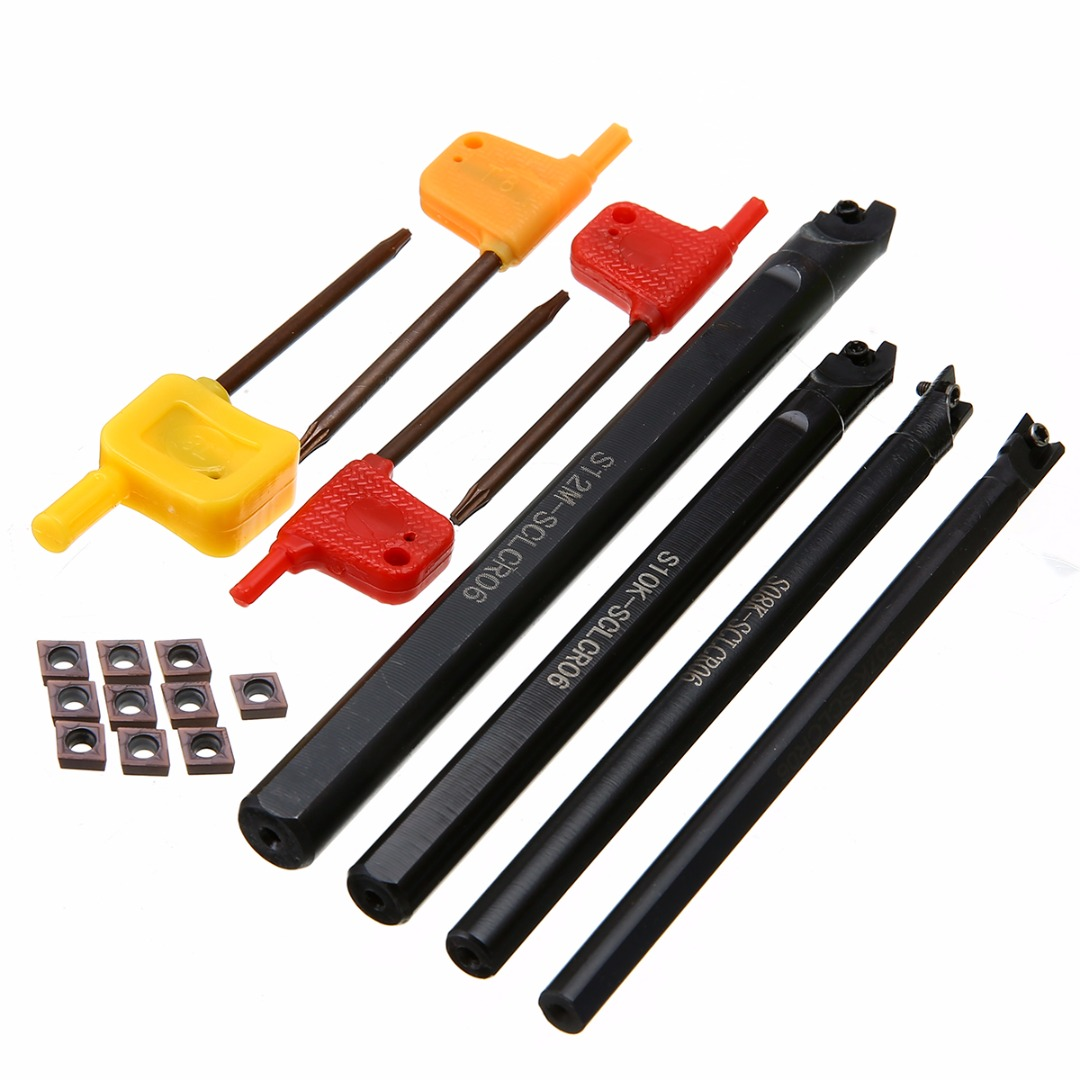 4pcs S12M/S10K/S08K/S07K-SCLCR06 Lathe Turning Tool Holder 7/8/10/12mm Boring Bar + 10pcs Inserts with T8 Wrenches Mayitr 4pcs sclcr06 tool holder boring bar 10pcs inserts with t8 wrench for lathe turning tools