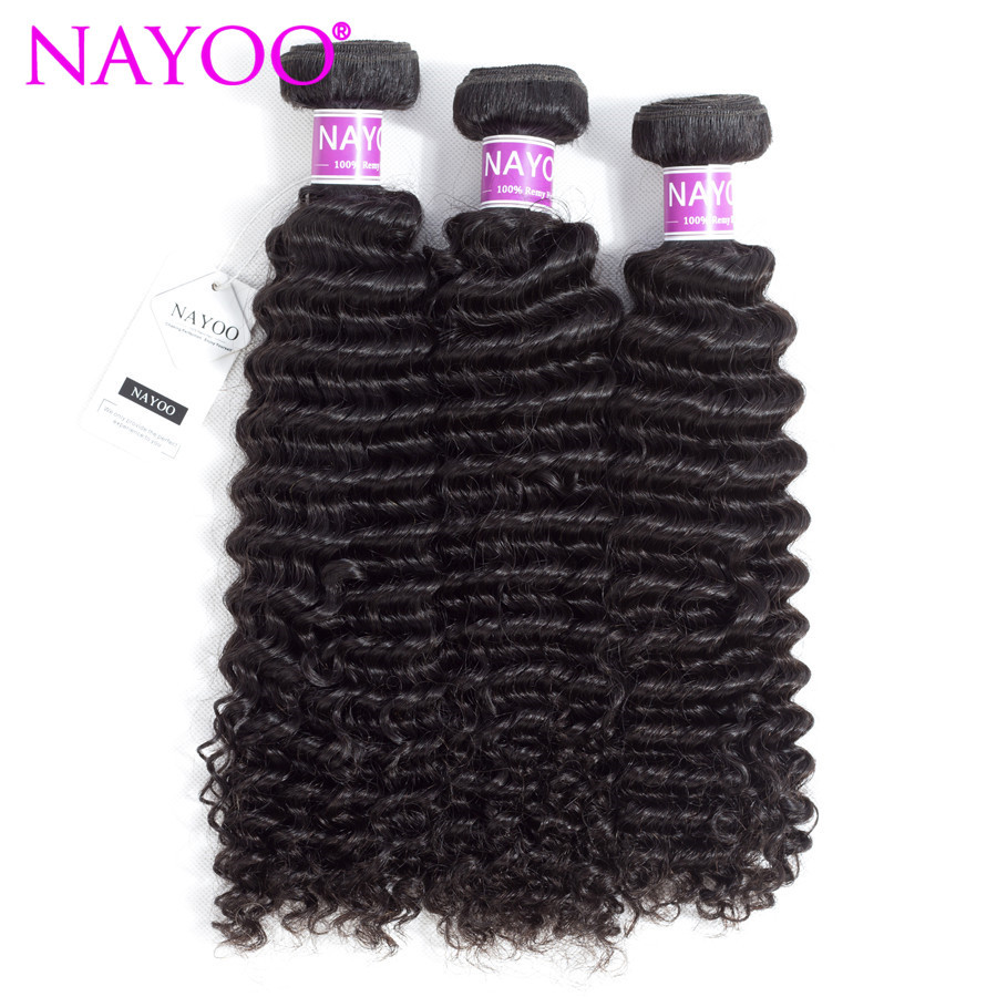 NAYOO Peruvian Kinky Curly Remy Hair 3 Bundles 100% Unprocessed Remy Human Hair Weave Bundles Natural Color 8-26inch