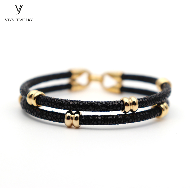 simple beads stingray leather bracelet for men ,couple stingray beads bracelets (10)