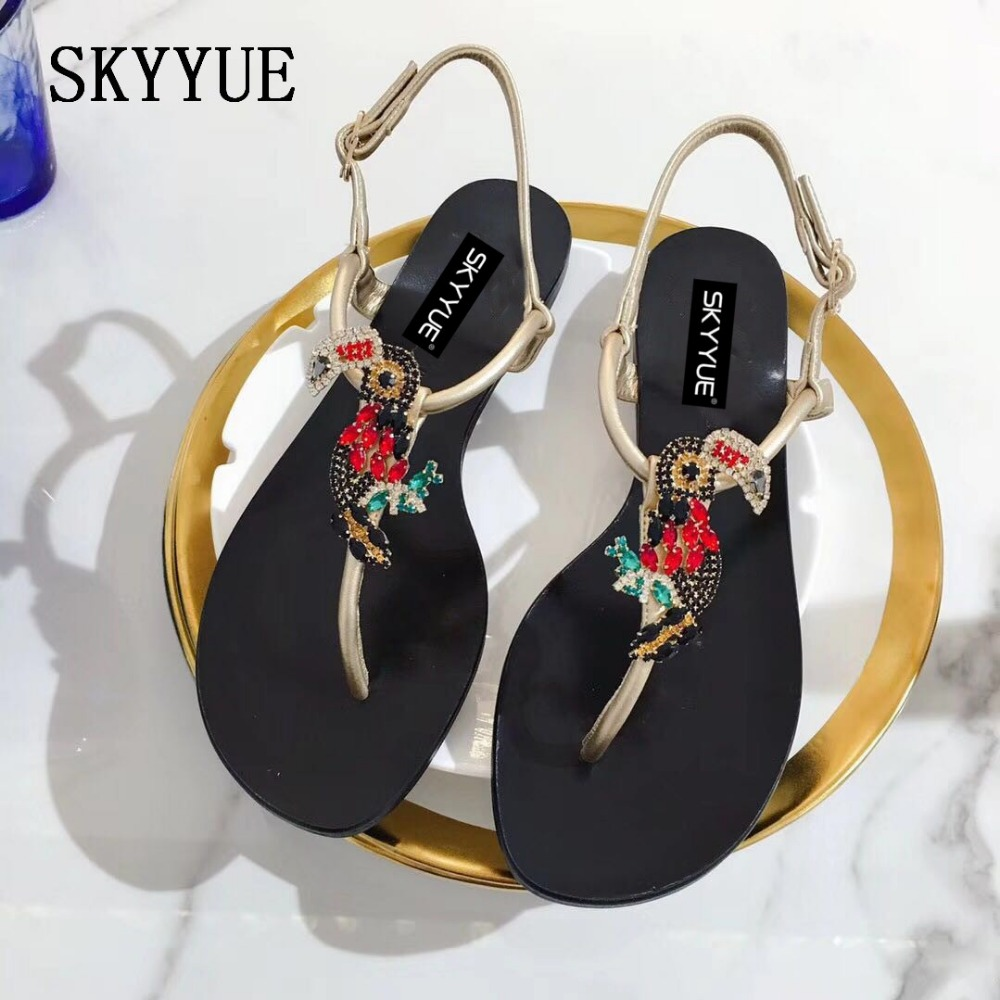 JUNBIE 2018 New Gold Silver Genuine Leather Crystal Bird Women Summer Sandals Open Toe Buckle Strap Flats Sandals Shoes Women bronze silver gold buckles shoes slippers sandals shoes strap laces clothing bag 8mm belts buckle clip 500pcs lot free shipping