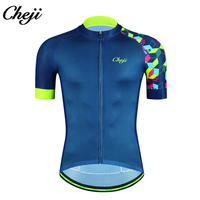 CHEJI New Arrival Cycling Jersey Men's Short Sleeve Bicycle Shirt MTB Road Bike Sport Wear Blue Breathable Quick Dry Male
