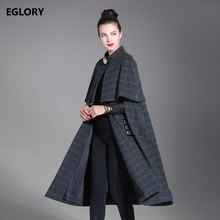 New 2017 Autumn Winter Style Coat Outerwear Women Vintage Plaid Print Wool Blends Cape Coat Poncho Casual Cloak Coat Feminino(China)