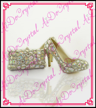 Aidocrystal fashion glitter crystal wedding shoes and matching bag hand made italian shoes and bag set