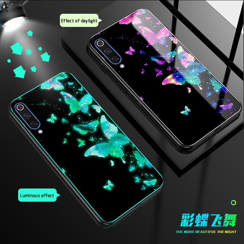 Color Butterfly Luminous Glass Case For Xiaomi mi 9 6X 5X Mi Note 3 back Cover redmi 5 Plus werewolf Phone case