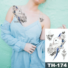 Waterproof Temporary Tattoo Sticker Sketch line peony pattern tatoo Water Transfer Rose body art fake arm tattoo For Women