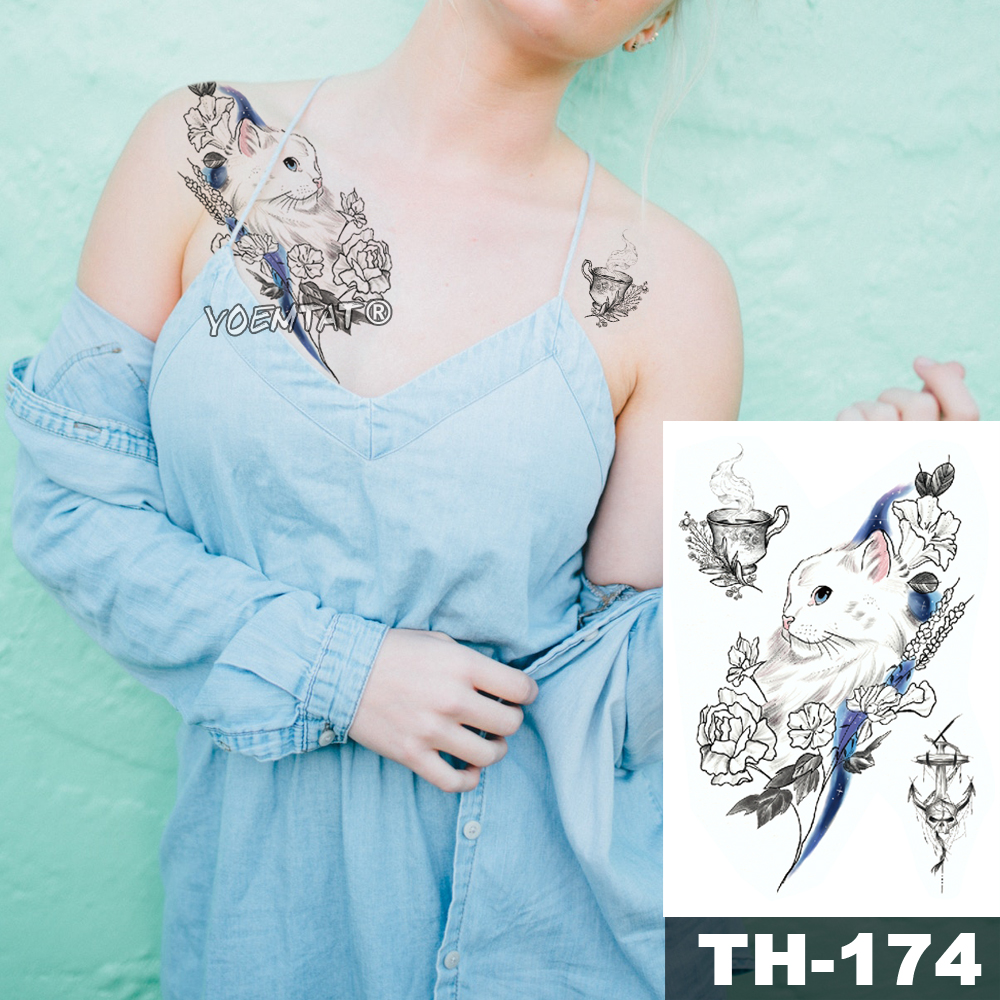 Waterproof Temporary Tattoo Sticker Sketch line peony pattern tatto Water Transfer Rose body art fake arm tatoo For Women 4