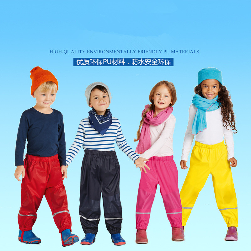 Spring Autumn New Childrens PU Leather Rain Pants 2-8 Years Old Girls Boys Waterproof Windproof Outdoor Pants Good Quality