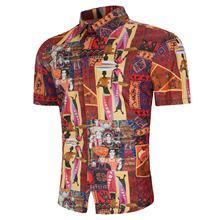 Flower Men Shirt National style Digital Character print Short-sleeved Hawaiian Summer Blouse