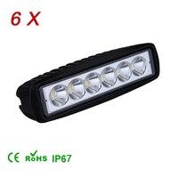6Pcs 1800LM Mini 6Inch 18W 6 X 3W Car LED Work Light Bar 12V Spot Flood