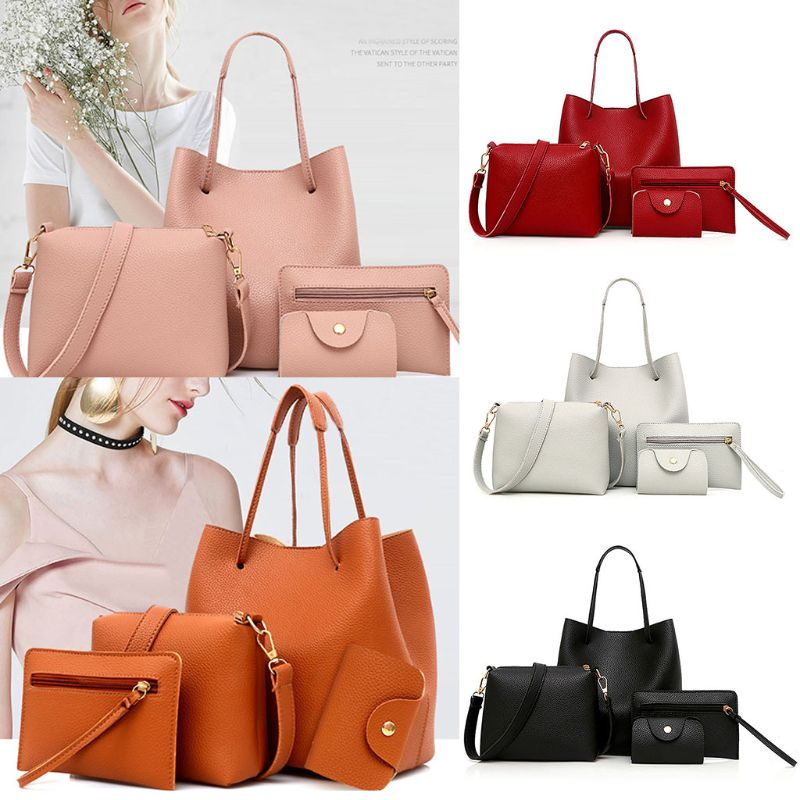 4PCS/Set Women Lady PU Leather Handbag Polyester Shoulder Bags Tote Purse Messenger Satchel