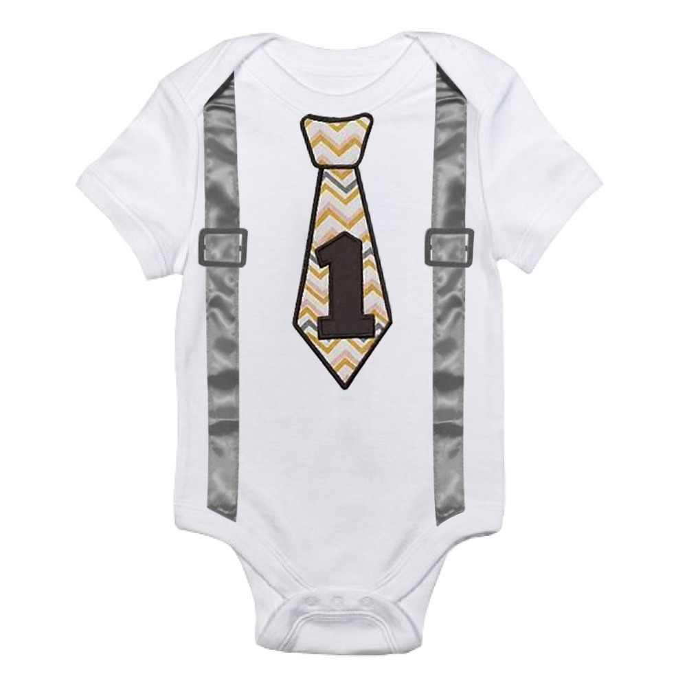 ba84542b7074b Summer Baby Boy Gentleman Romper Little Boys First Birthday Clothes Infant  Clothing Newborn Jumpsuits Toddler Casual Pajamas 12M