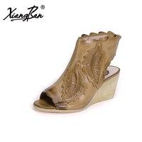 Xiangban Genuine Leather Gladiator Women Sandals Elegant Wedges Sandals Peep Toe Beige K78K21