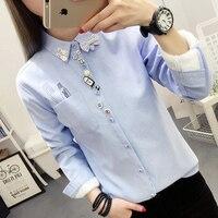 autumn winter women's striped cute embroidery blouse women long sleeved plus velvet shirt warm slim thicken tops