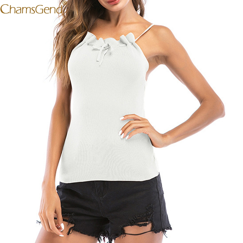 Bow Hanging Neck tank tops women summer tank top women Open Back Knit Camisole Tank Polyester Ruffled Sleeveless Solid Mar13