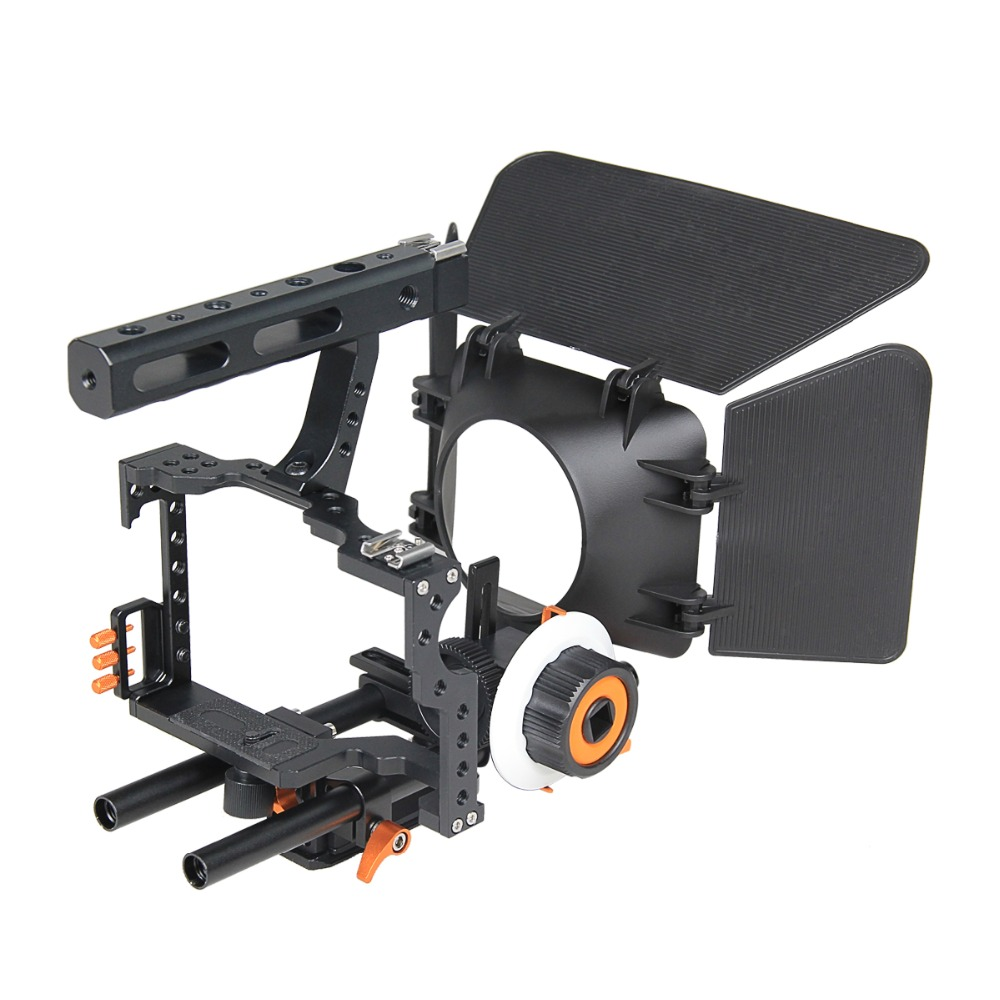 YELANGU C500 DSLR Camera Video Cage Rig with Matte Box and Follow Focus for Panasonic GH3 Gh4 Sony A7 DSLR Camera yyelangu dslr rig kit shoulder mount rig matte box follow focus dslr cage for canon nikon sony dslr camera and video camcorder