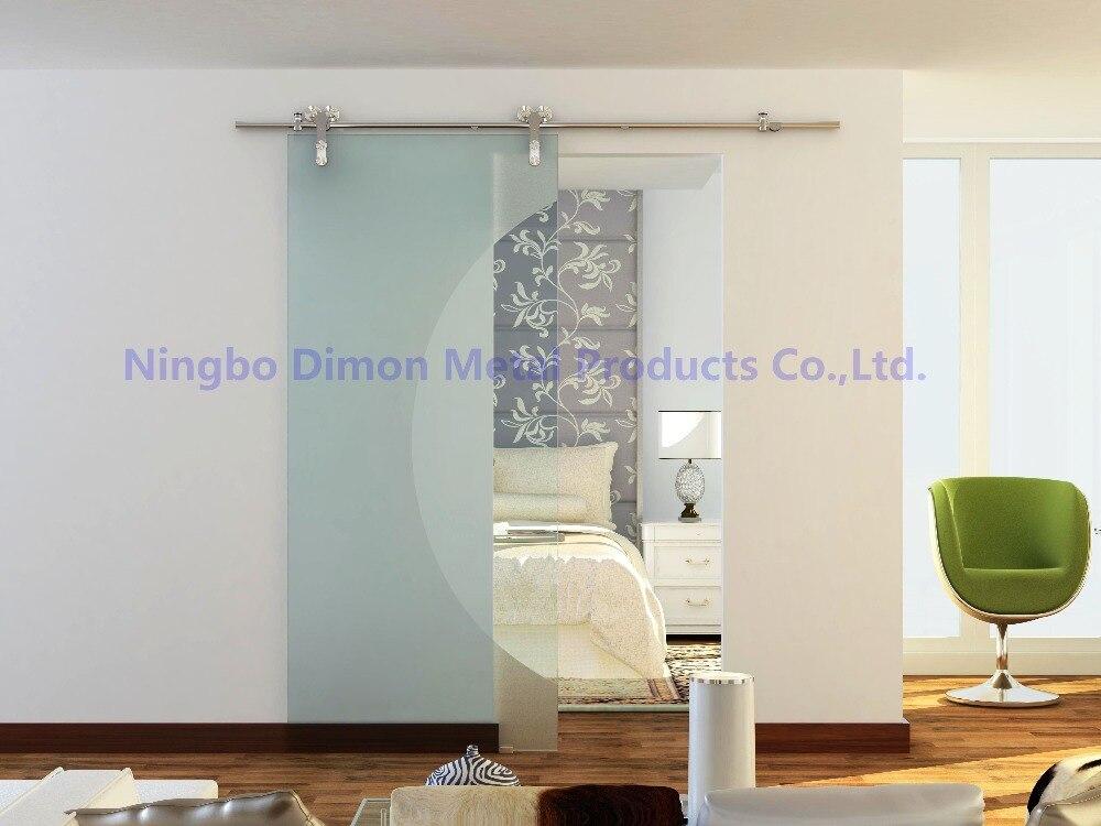 Livraison gratuite Dimon vente chaude style américain en acier inoxydable 304 satin verre porte coulissante grange matériel DM-SDG 7008 sans barre - 3