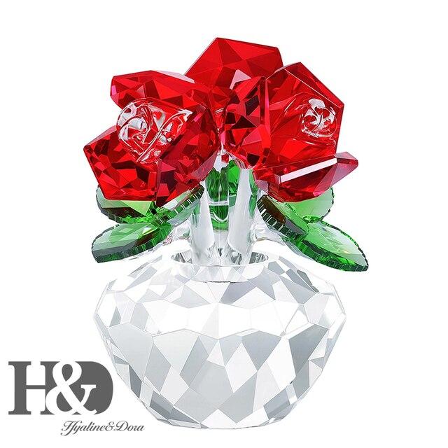H & D czerwona róża kryształowa bukiet kwiaty figurki ozdoba z pudełkiem dekoracja ślubna przycisk do papieru walentynki prezent