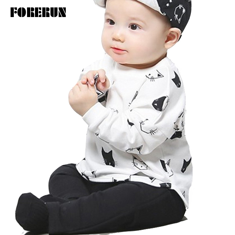 2016 New Baby Set Cat Print Autumn Baby Boy Clothes Cotton Long Sleeve T-shirt Black Pants Fashion Baby Boy Suit Baby Tracksuit
