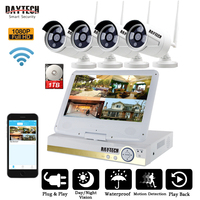 DAYTECH Wireless NVR Kits 2MP 1080P Surveillance System 4CH CCTV Cameras Wireless WiFi LCD Monitor HDD