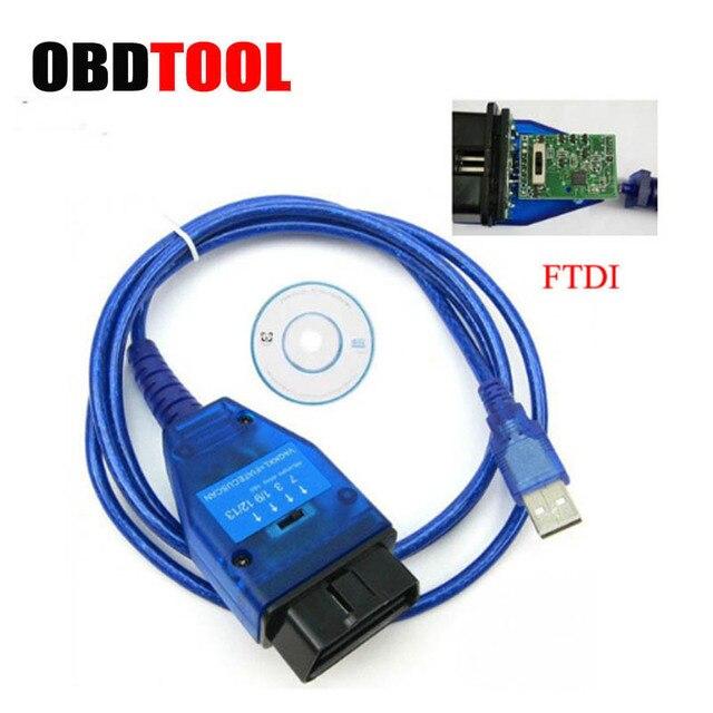 Câble de Diagnostic de voiture avec Interface USB 16 broches, FT232RL FTDI Chip VAG, outil de balayage Ecu, commutateur 4 voies, Obd2