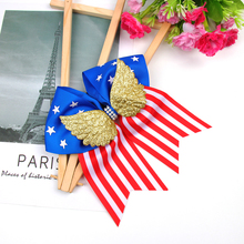 ncmama 4th of July 7 Large Hair Bows for Girls with Gold Wing Rubber Band Festival Cheer Rope Accessories