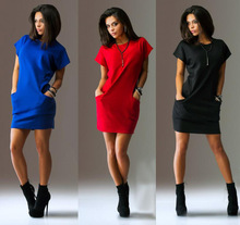 Sexy mini dress Summer Round neck dress Pocket stitching dresses 2019 summer new Womens Solid color dress slim-fit bodycon dress