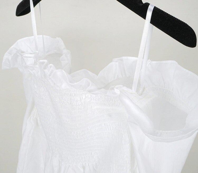 Verano Blusa Primavera Hombros Color Sexy Algodón Mujeres Alta Los Calidad Runway De Tops 2017 100 Blanco Blusas Ruffles OdqU8O