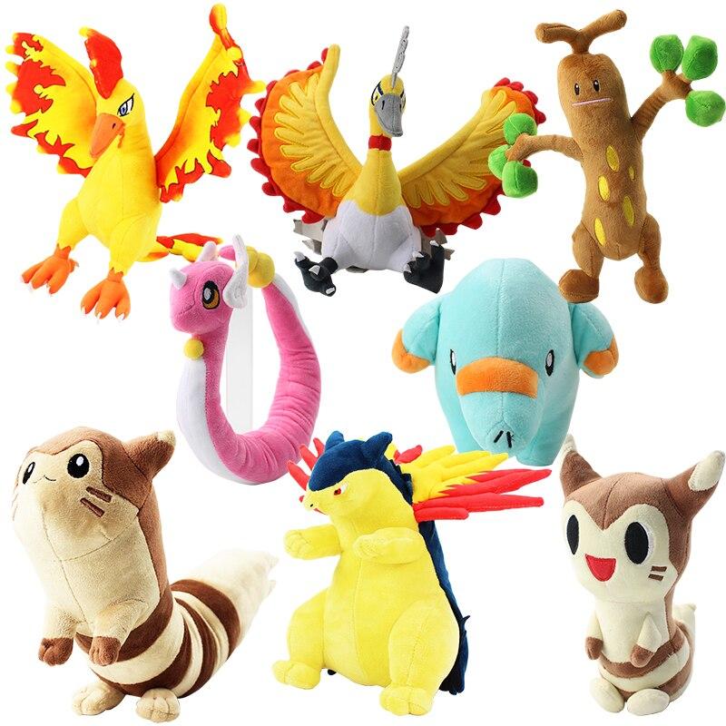 8Styles Cartoon Plush Toys Shiny Dragonair Furret Moltres Red Bird Typhlosion Phanpy Sudowoodo Soft Stuffed Animal Doll For Gift
