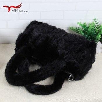 Women real suede zipper handbags new ladies 100% fur bag fashion bag casual portable fur bag black ladies designer bag female B4