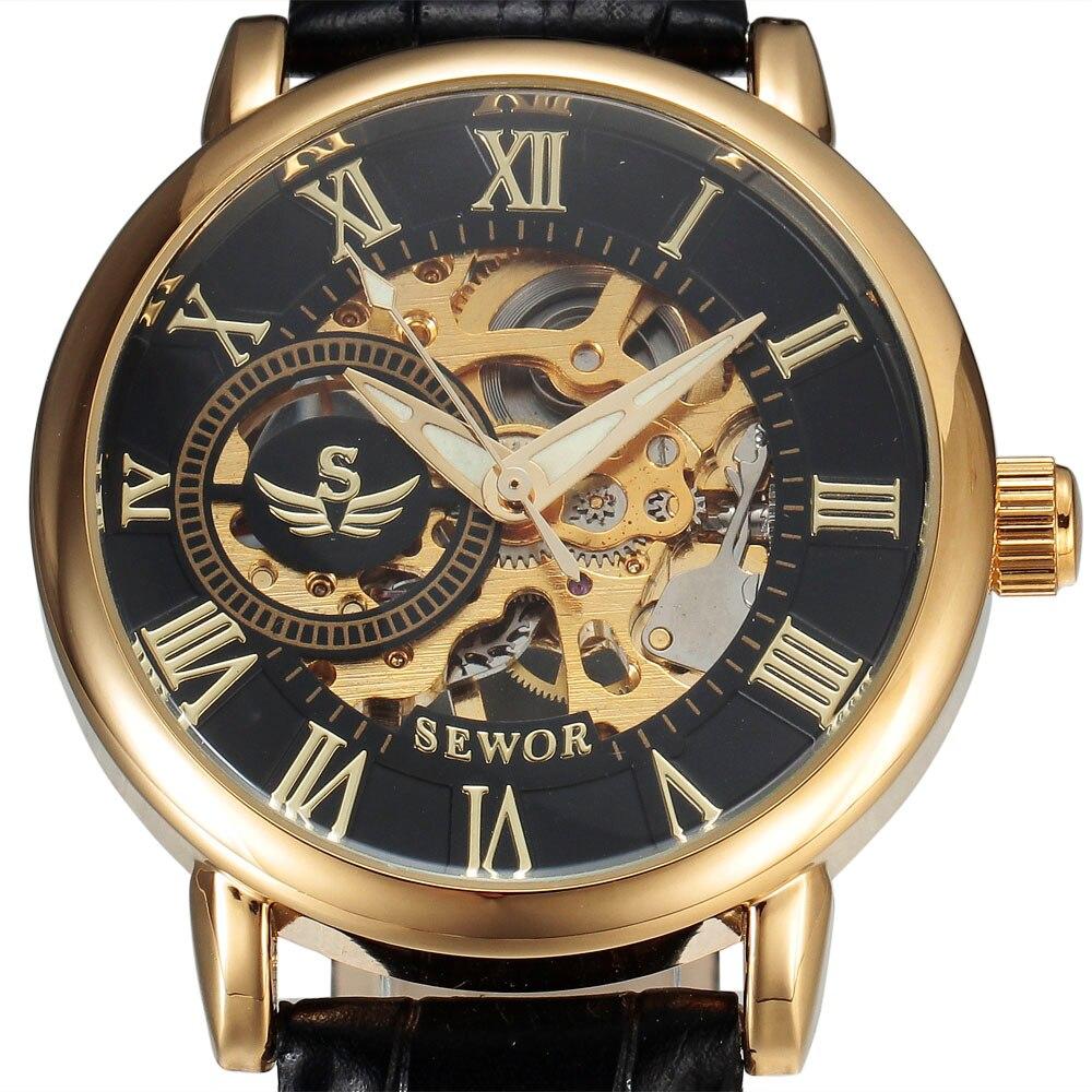 SEWOR 3d лого дизайн куха гравиране черен - Мъжки часовници - Снимка 4