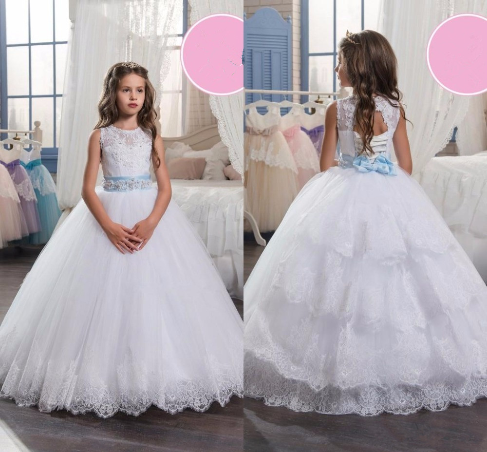 Lace Applique Beaded   Girls   Pageant   Dresses   2019 White Tiered Ruffles Tulle Ball Gowns   Flower     Girl     Dresses   for Weddings