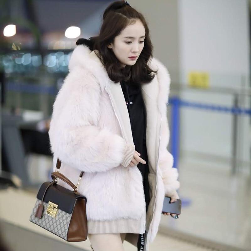 Longues Éclair Hiver Outwear Mandarin Nouvelle Manteaux Poches Automne Manches C pink 627 Faux Épaissir Fourrure Col Fermeture Mode Femmes Chaud White De Femelle wt0fdg